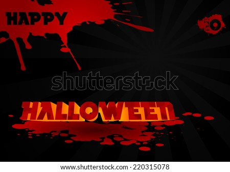 Volumetric halloween text with blood stains on a black background