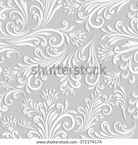 Volumetric seamless floral pattern background. Paper cut out seamless floral pattern. - stock vector
