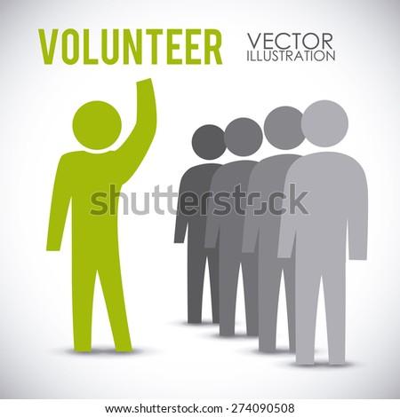 Volunteer design over white background, vector illustration. - stock vector