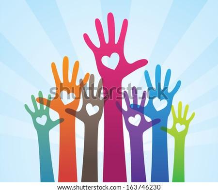 Volunteer hands - stock vector