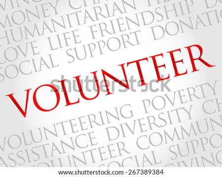 Volunteer word cloud concept - stock vector