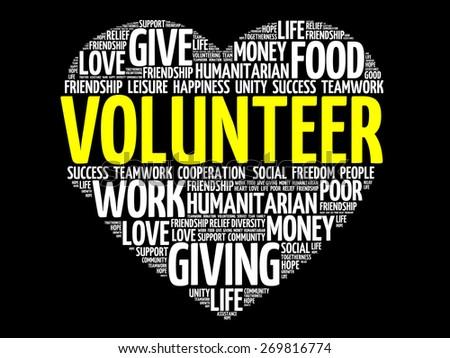 Volunteer word cloud, heart concept - stock vector