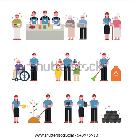 Volunteering to help neighbors vector illustration flat design