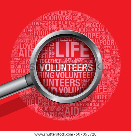 Volunteers in charity word cloud help concept, vector illustration