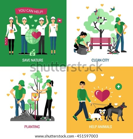 Volunteers 2x2 design concept set of help animals planting clean city and save nature action compositions flat vector illustration - stock vector