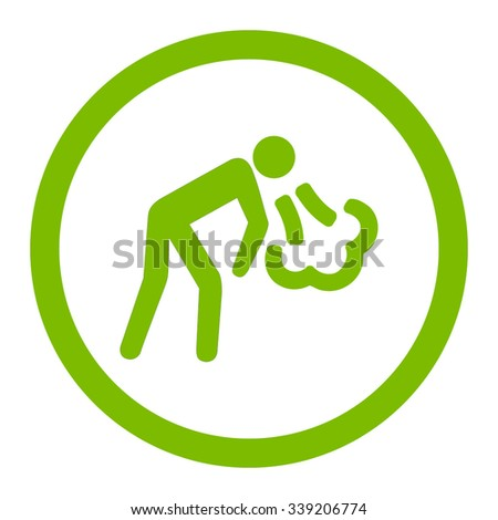 Vomiting vector icon. Style is flat rounded symbol, eco green color, rounded angles, white background.