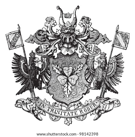 Von Bismarck - family coat of arms / vintage illustration from Meyers Konversations-Lexikon 1897 - stock vector
