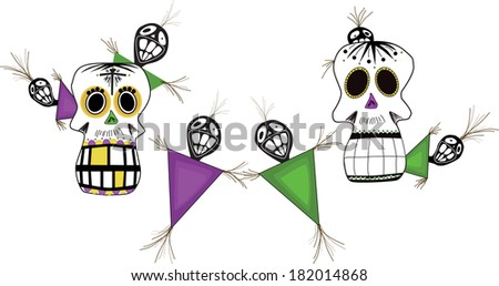 Voodoo background/Voodoo Shmoodoo/New Orleans style Voodoo dolls and skulls in Marti Gras colors. This is saved in 4 layers for easy access   - stock vector