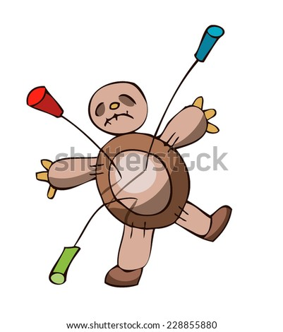 Voodoo Doll stabbed with three Colored Pins. Vector Illustration isolated on a White Background.  - stock vector