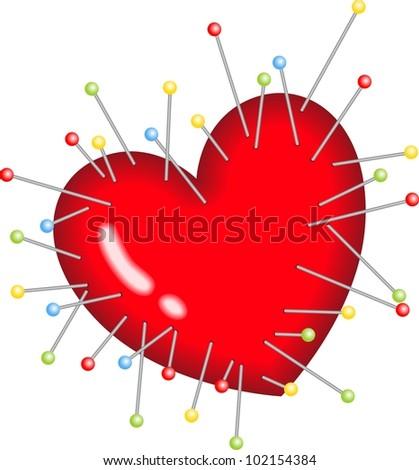 Voodoo Heart Pins Stick - stock vector