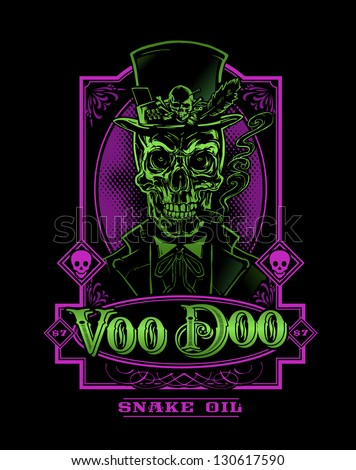 Voodoo Snake Oil Skeleton - stock vector
