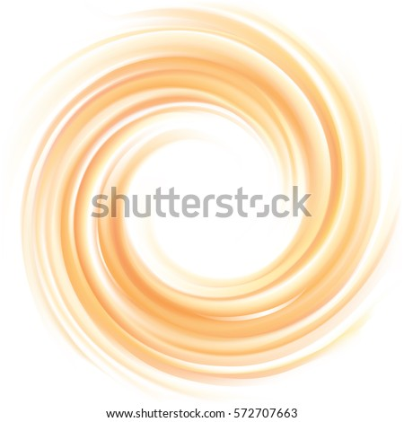 Vortex backdrop with space for text in glowing white center. Curvy fluid surface gentle terracotta color. Circle soft mix of pure fresh sweet carrot, melon, pumpkin, apricot dessert syrup
