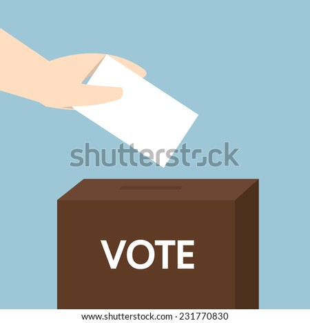 Vote ballot with box. Vector illustration, flat design - stock vector