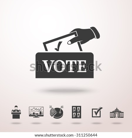 Vote box with hand and set of ELECTION icons with -  vote list, speaking man, infographics, check box, white house. vector - stock vector