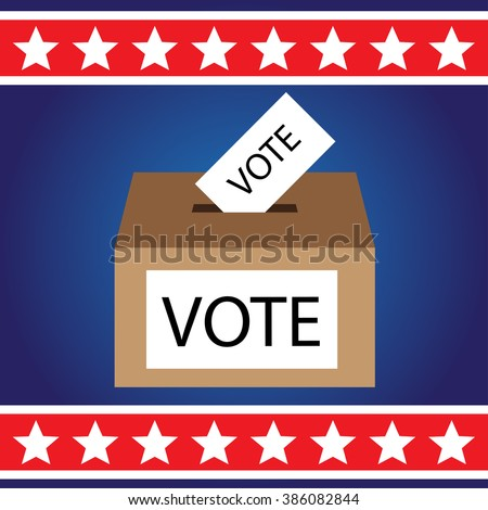 vote box with white stars and red strip over blue background vector illustrations