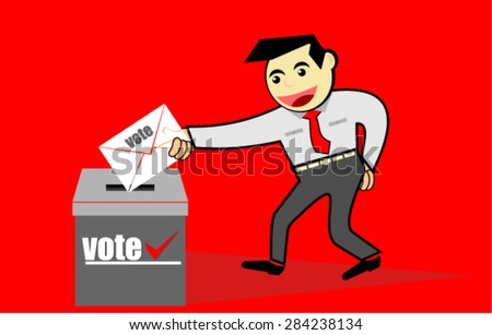 vote, cartoon character - stock vector