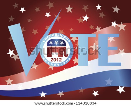 Vote Check Mark Text 2012 Republican with US Flag Background Vector Illustration - stock vector