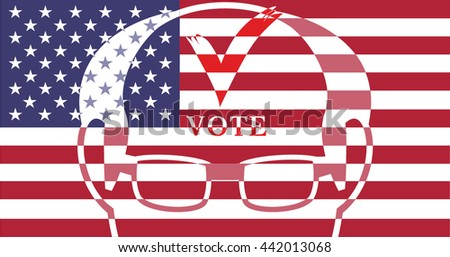 vote design element 2016 election united states. Election day.USA flag. Flag of America, on white background. - stock vector