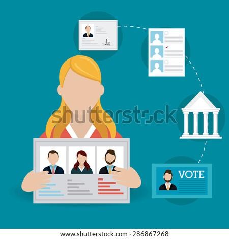 Vote design over blue background, vector illustration. - stock vector