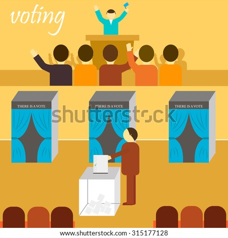 vote. election, referendum, ballot, citizens, voting booth, ballot stuffing, election of the President - stock vector