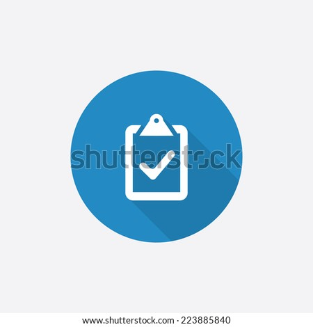 vote Flat Blue Simple Icon with long shadow, isolated on white background   - stock vector