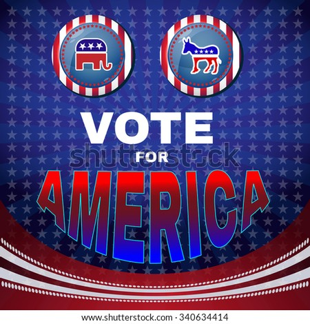 Vote for America Campaign Ad Flyer. Social Promotion Banner. Elephant versus Donkey. American Flag's Symbolic Elements - Red Stripes and Blue Stars. Digital vector illustration. - stock vector