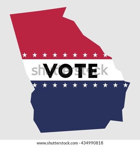 Vote Oregon State Map Outline Patriotic Stock Vector - Georgia voting map