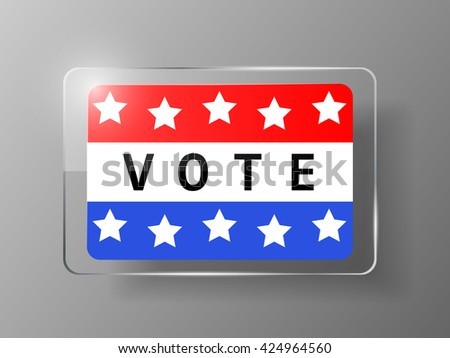 Vote glass buttons with red and blue colors. Vector illustration.