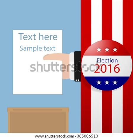 Vote, Hand holding ballot in Ballot boxes. Vector illustration. - stock vector