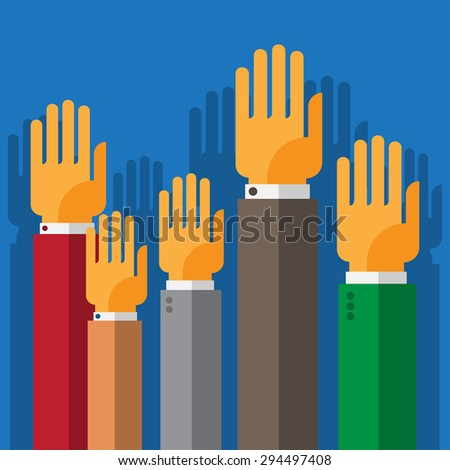 vote hand up - stock vector