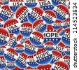 Vote, Hope and USA election badge pins pattern. Vector file layered for easy manipulation and custom coloring. - stock vector