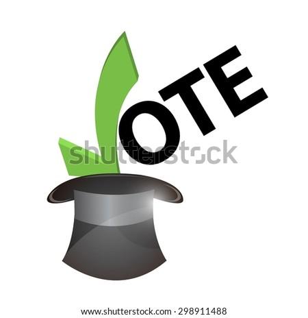 vote inside a hat concept illustration design over white - stock vector
