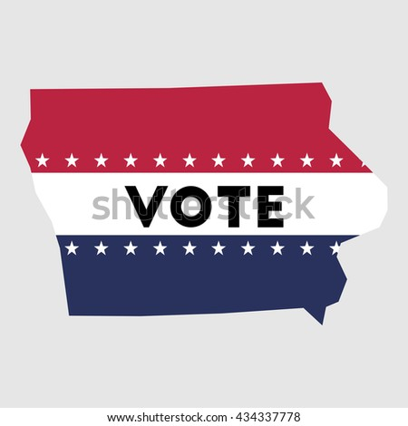 Vote Iowa state map outline. Patriotic design element to encourage voting in presidential election 2016. vote Iowa vector illustration.