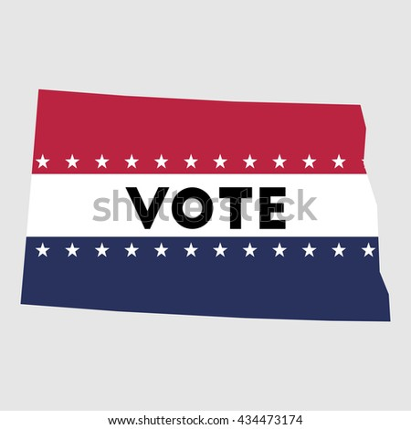 Vote North Dakota state map outline. Patriotic design element to encourage voting in presidential election 2016. vote North Dakota vector illustration.