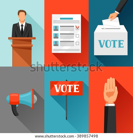 Vote political elections concept. Illustration for campaign leaflets, web sites and flayers. - stock vector