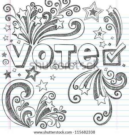 Vote Presidential Election Back to School Style Sketchy Notebook Doodles with Stars and Swirls- Hand-Drawn  Illustration Design Elements on Lined Sketchbook Paper Background - stock vector