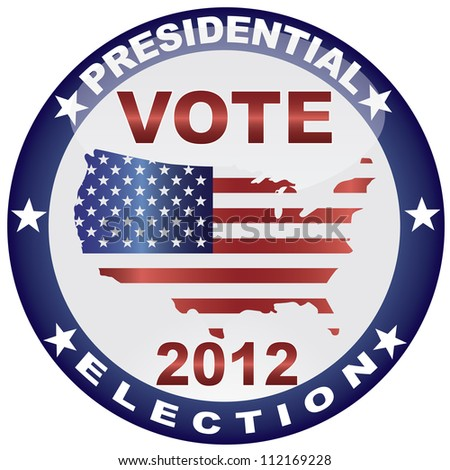 Vote Presidential Election 2012 with USA Flag in Map Silhouette Vector Illustration - stock vector