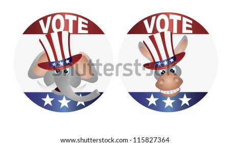 Vote Republican Elephant and Democrat Donkey with Uncle Sam Hat Buttons Vector Illustration - stock vector