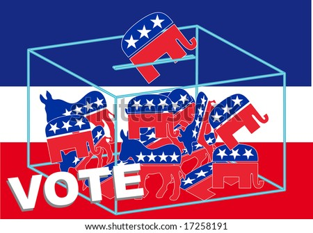 Vote Republican over a blue, white and red background - stock vector