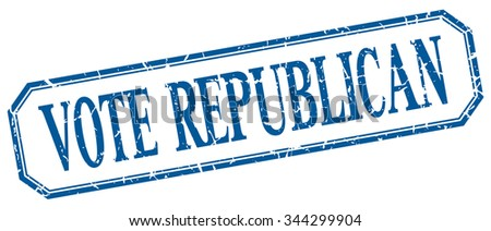 vote republican square blue grunge vintage isolated label - stock vector