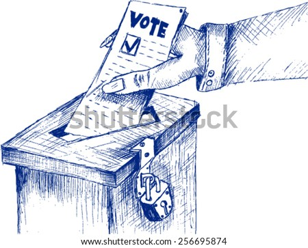 vote, sketch - stock vector