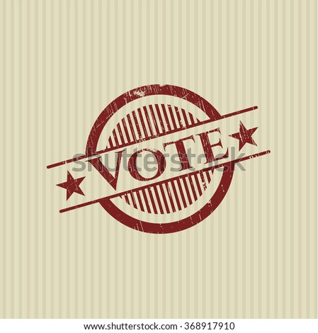 Vote with rubber seal texture - stock vector