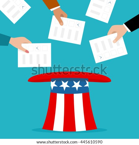 Voters putting election bulletins in the uncle sam hat - stock vector