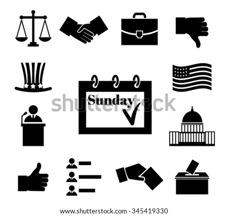 Voting and elections black vector icons. Politic and ballot, government and president, box and law, democratic politician illustration - stock vector