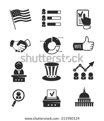 Voting and elections icon set - stock vector