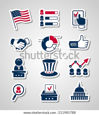 Voting and elections paper cut icons - stock vector