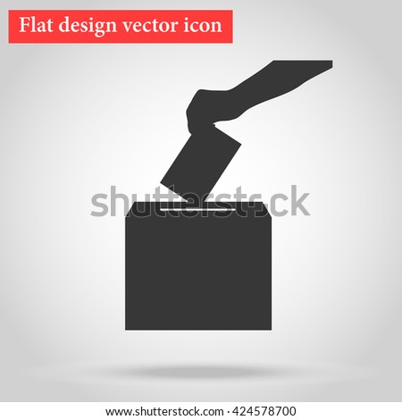 Voting, arm casts into the ballot box in elections to the government document with your choice. icon vector illustration flat design - stock vector