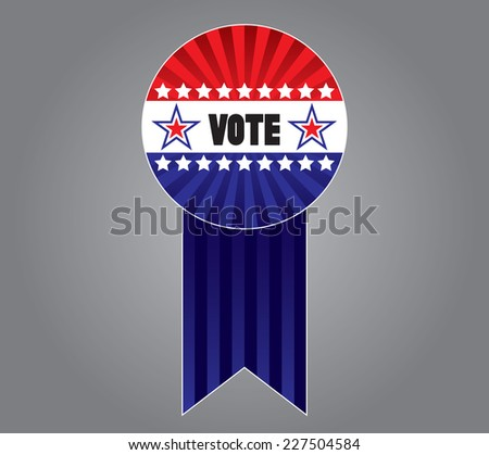Voting button and ribbon - stock vector