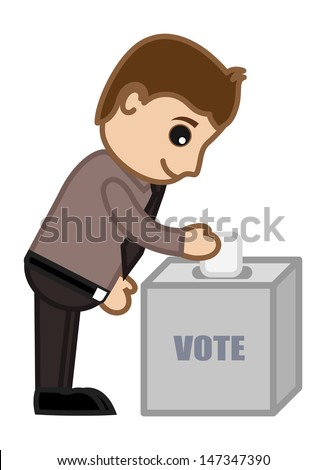 Voting - Cartoon Office Vector Illustration