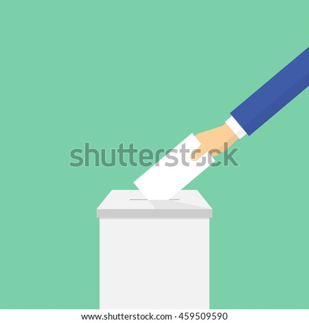Voting concept in flat style. Hand puts ballot in the ballot box. Vector illustration - stock vector